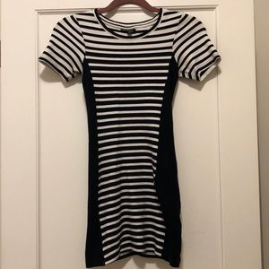 Fitted White and Navy Striped Dress